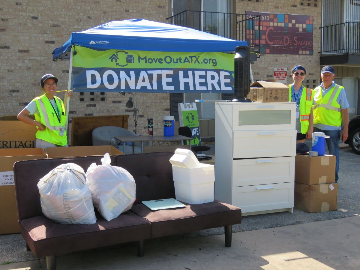 Furniture and other items are collected at a donation station in West Campus during MoveOutATX