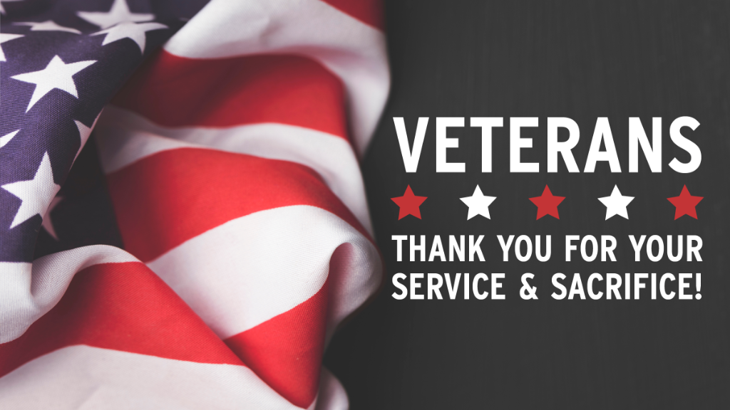"""American flag: """"Veterans: thank you for your service and sacrifice!"""