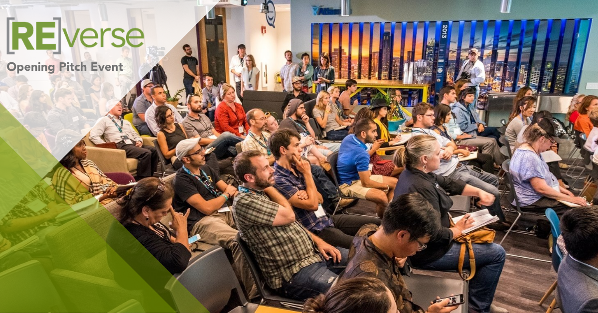 People in seats attending a Reverse Pitch opening pitch event
