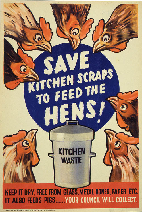 """Vintage war poster of chickens. """"Save kitchen scraps to feed the hens."""""""