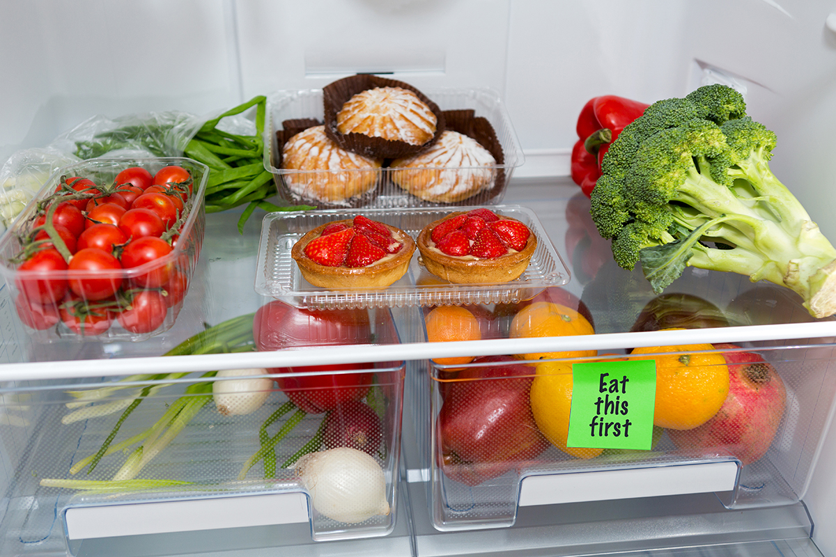 Image of food in fridge with some labeled to eat first