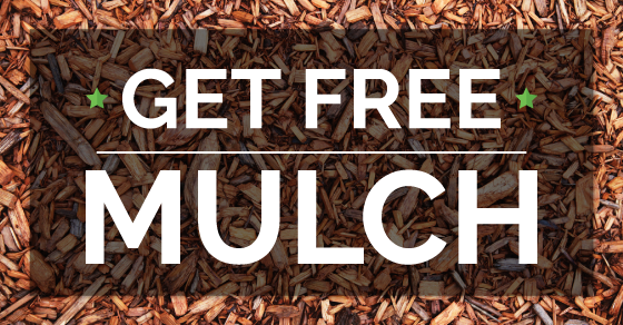 """""""Get free mulch"""" with image of mulch"""