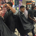Students getting haircuts