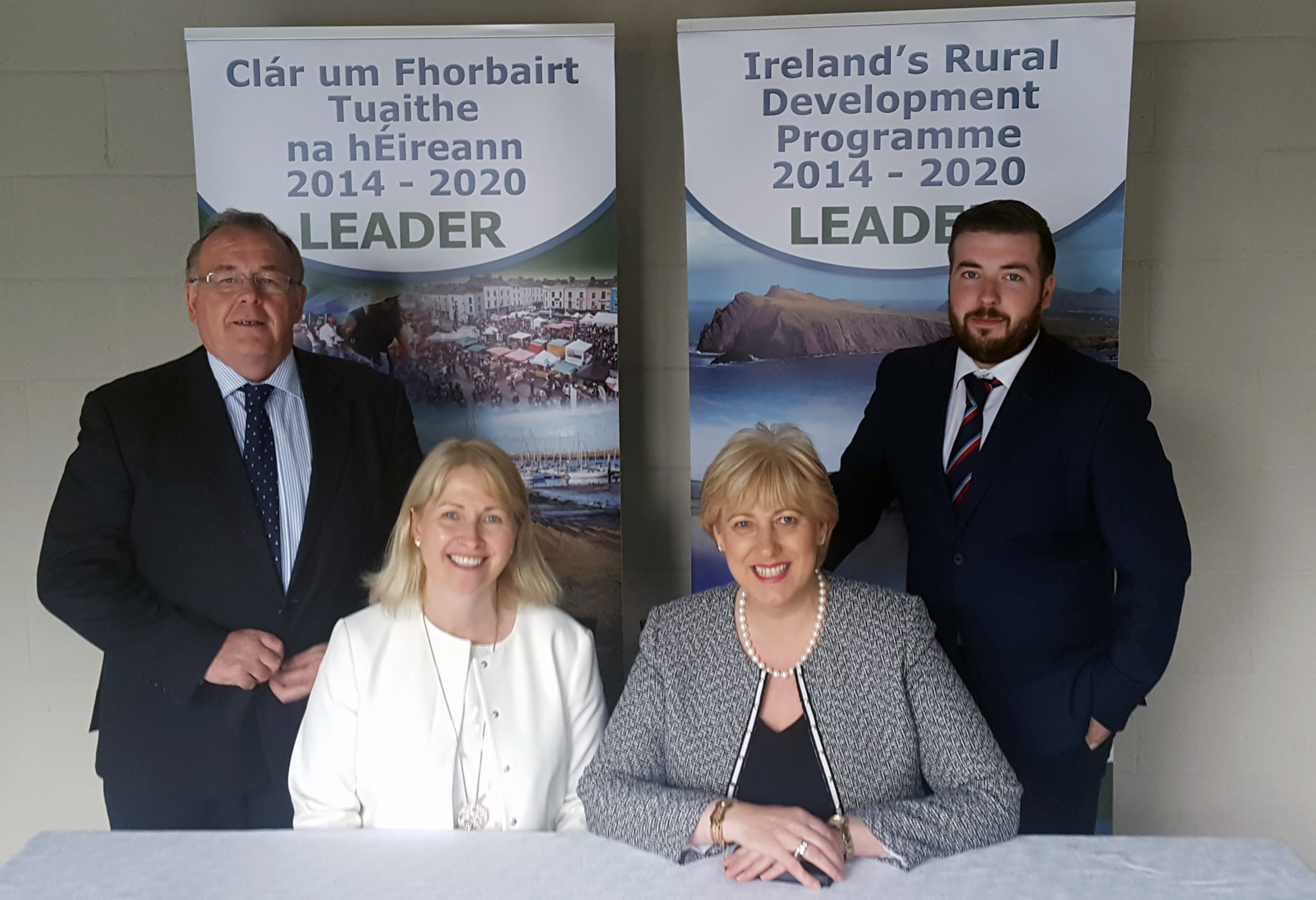 Rural Affairs Minister Heather Humphreys (front right) pictured at the launch of the 2014-2020 LEADER programme in the Virginia Show Centre, The Showgrounds, Virginia, County Cavan, with Dr Maura Farrell (NUI Galway and NRN), Seamus Boland (back left) and James Claffey (Irish Rural Link and NRN).