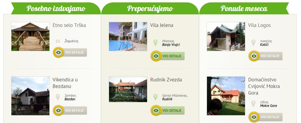 Primer prve stranice sajta www.selo.rs