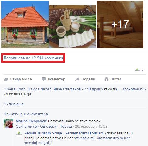 Primer objave na Facebook-u