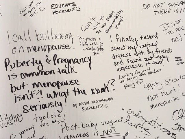 Testimonial wall about vaginal dryness at the Replens booth, National Women's Show, Nov 2019