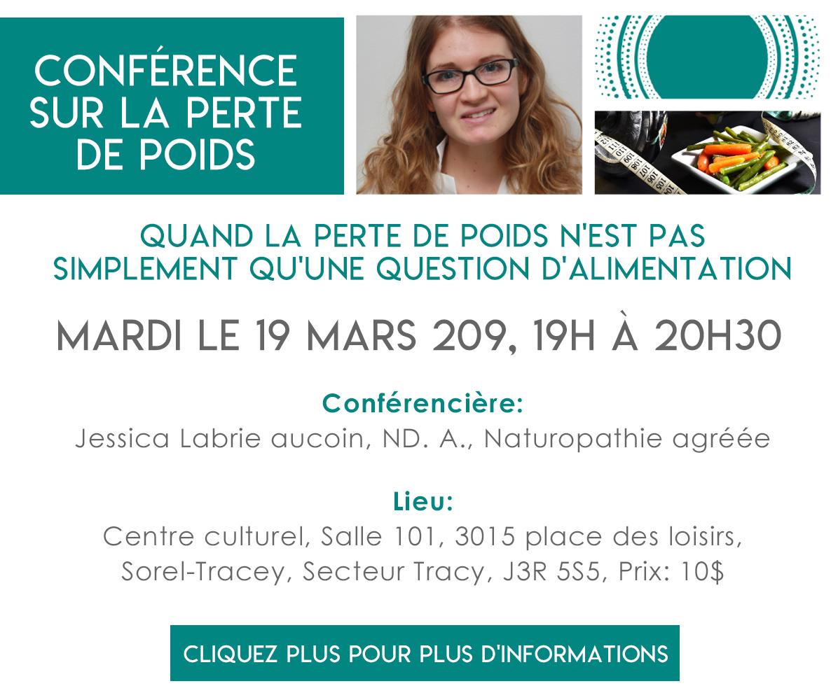 Conférence sur la perte de poids: Mardi le 19 mars 209, 19H à 20h30