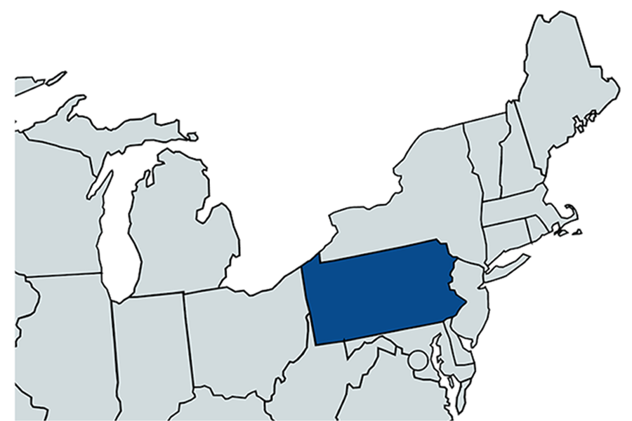 Map of Northeastern U.S., with PA highlighted