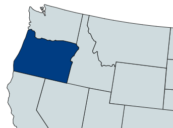 US map with Oregon highlighted