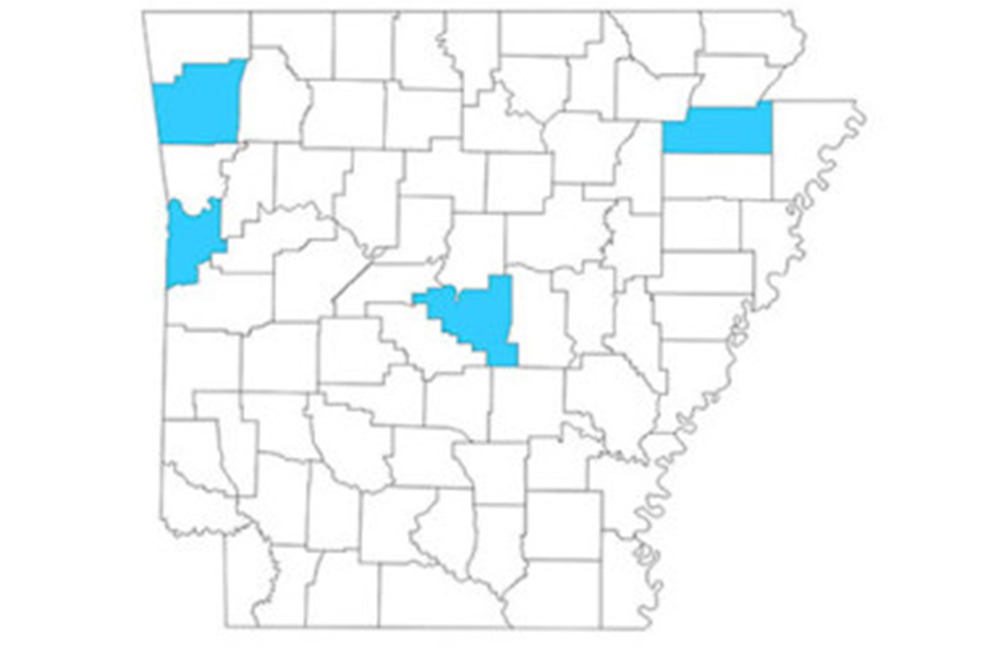 arkansas Map with four counties highlighted
