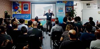 Former Queensland Chief Scientist Prof Peter Andrews opening HealthHack Brisbane
