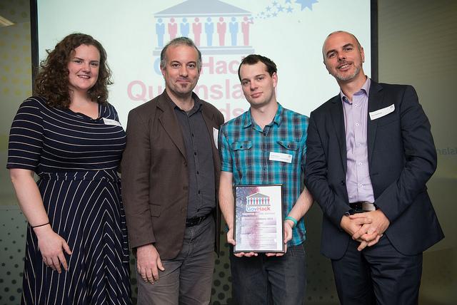 L–R: Emma Joughin (AURIN), Jack Barton (AURIN), Jason Weigel (prizewinner) and Gavin Kennedy (QCIF).