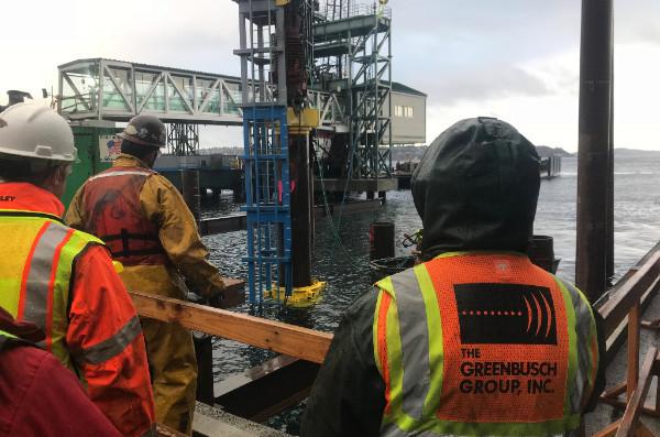 Greenbusch staff observing Colman Dock construction