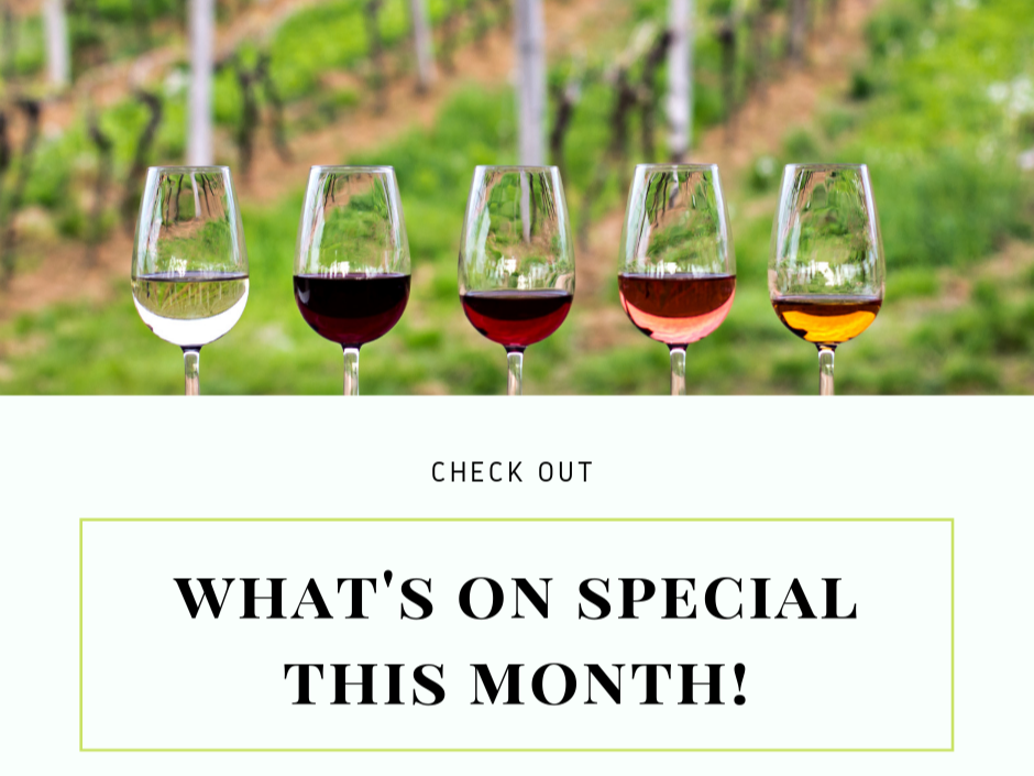 various wines in glasses check out what's on special this month