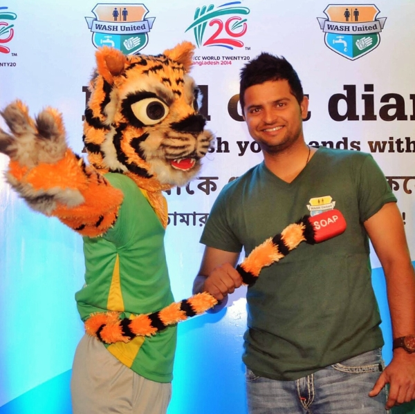 Suresh Raina and tournament mascot Happy the Hand-washing Tige