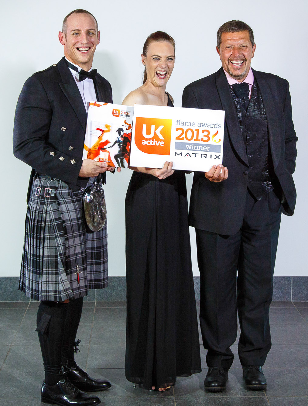 "Rory and Sarah receiving the ""Spark of Innovation"" Award at the UK Active Flame Awards"