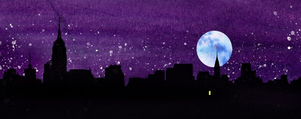 [detail of the city skyline from the cover of A ROOM AWAY FROM THE WOLVES]