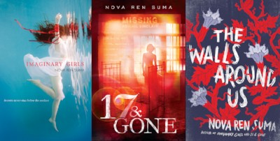 [covers of three books: IMAGINARY GIRLS, 17 & GONE, and THE WALLS AROUND US]