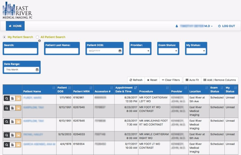 Physician portal sample image