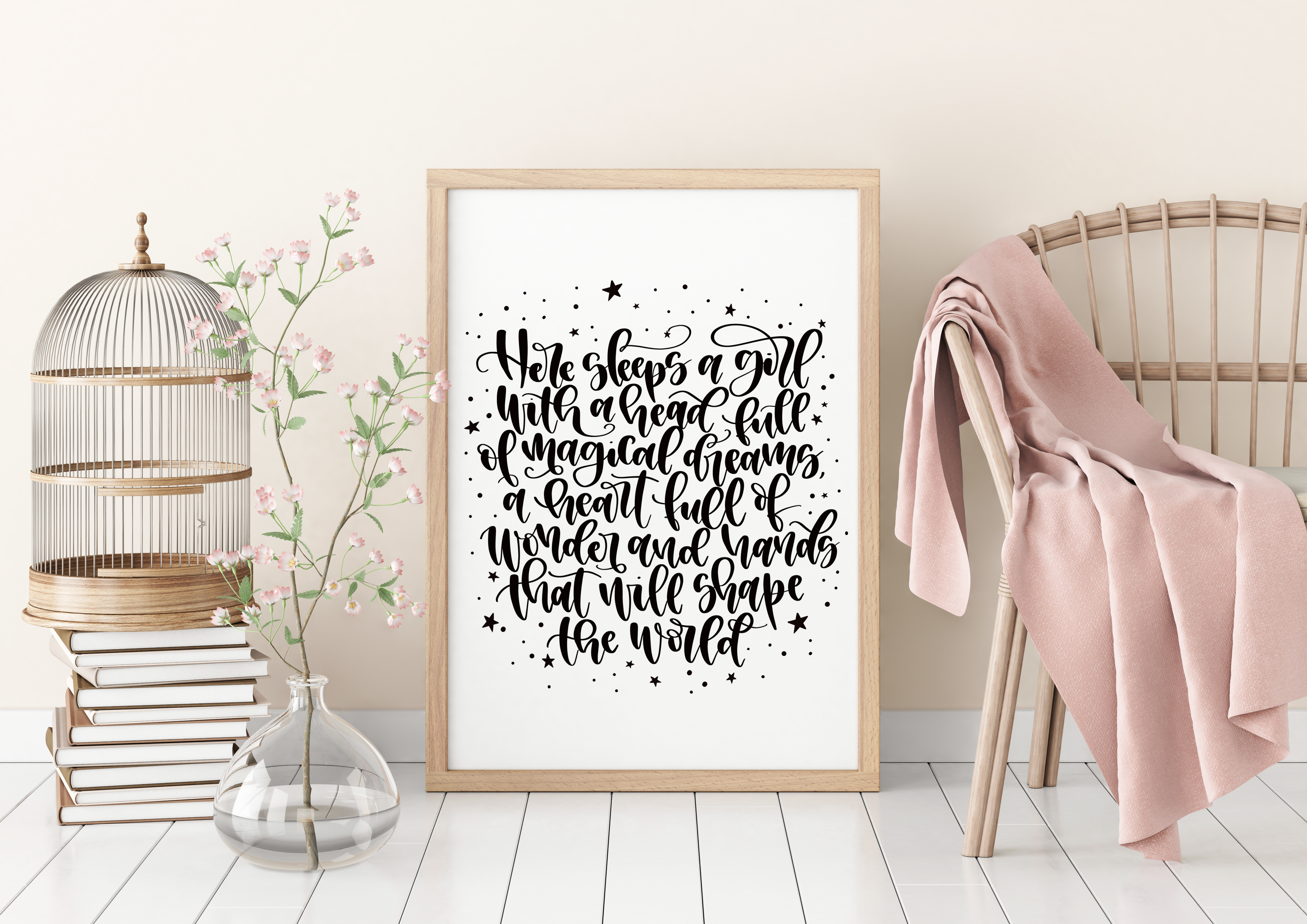 Unique framed prints on ArtWOW: Here Sleeps A Girl by designer Teeny Letters
