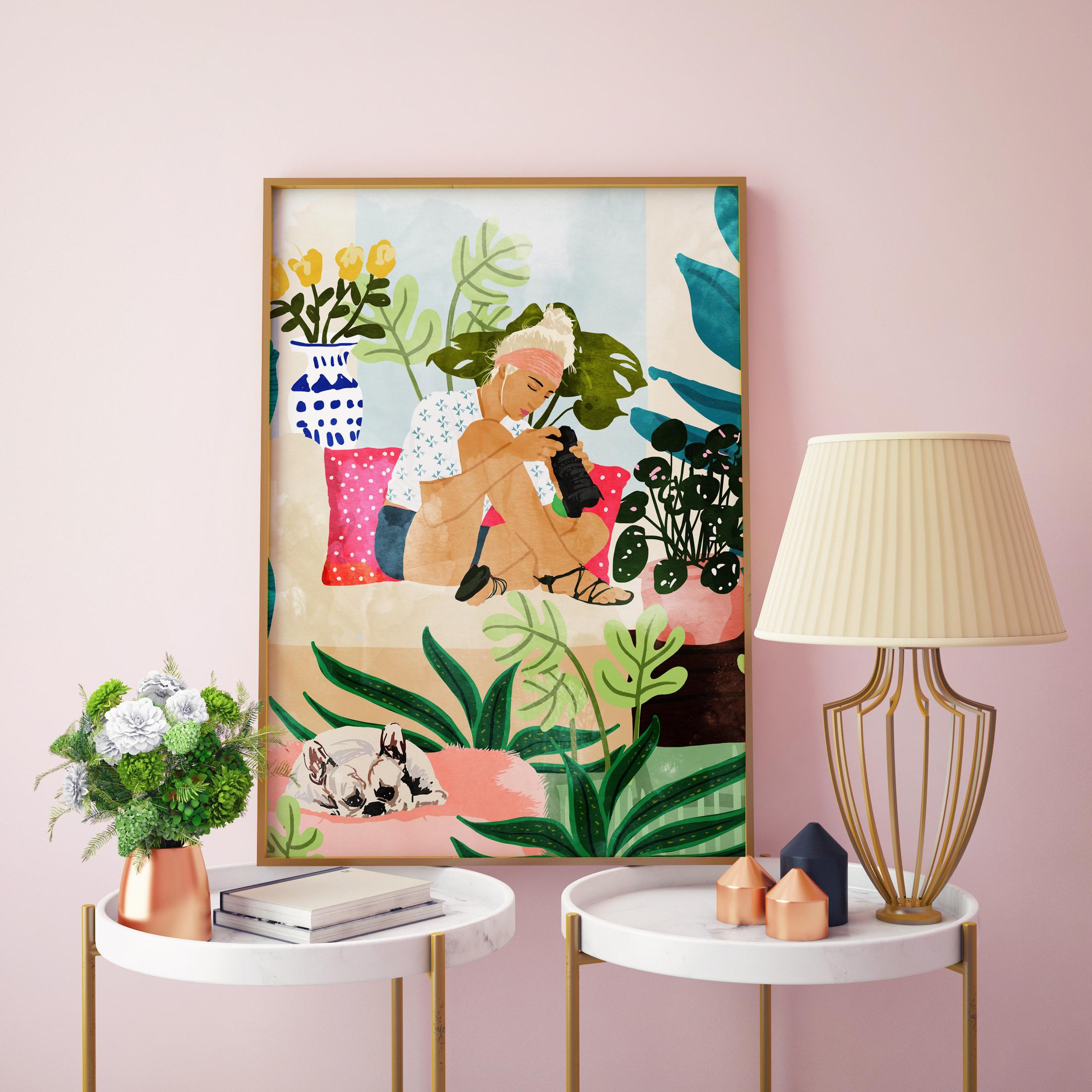 Order personalised framed prints on Artwow: Miss Blogger by designer Uma Prabhakar Gokhale