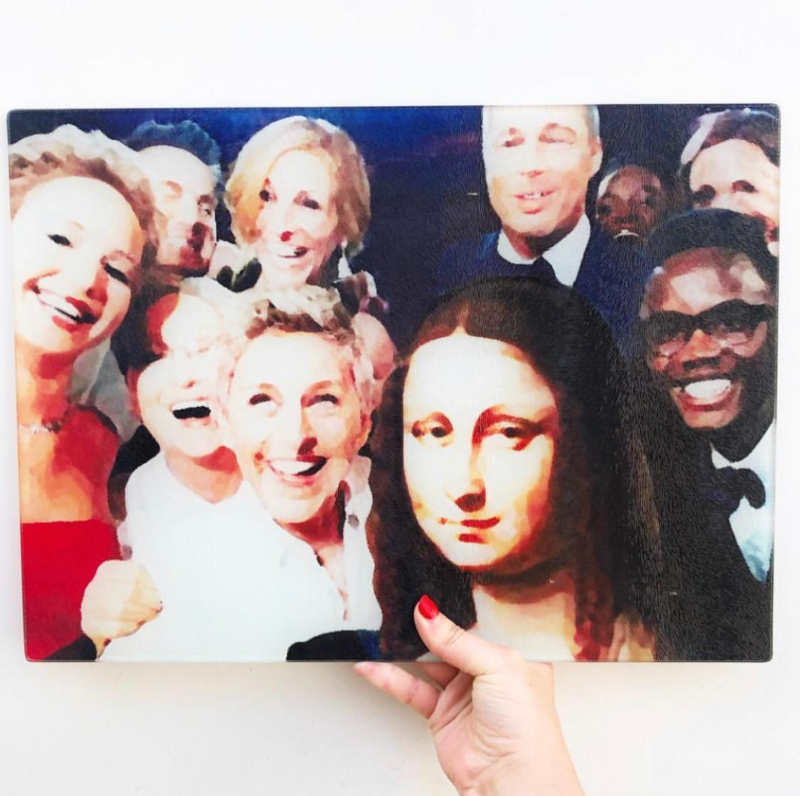 Personalised glass chopping board on Artwow: Art Of Selfies by designer Wallace Elizabeth