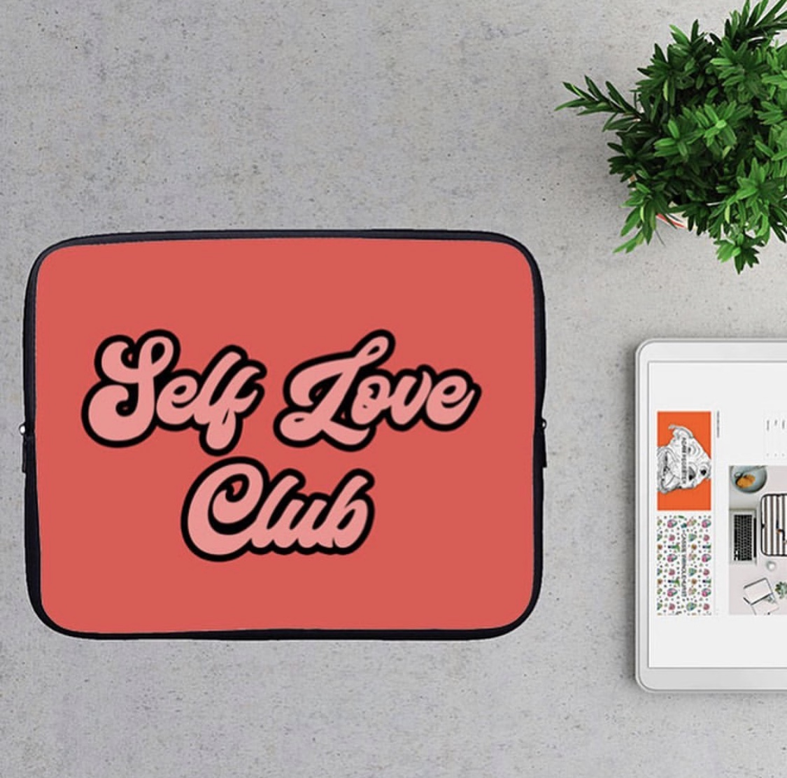 Personalised laptop sleeve: SELF LOVE CLUB  by Sarah Talbot-Goldman – buy on ArtWOW