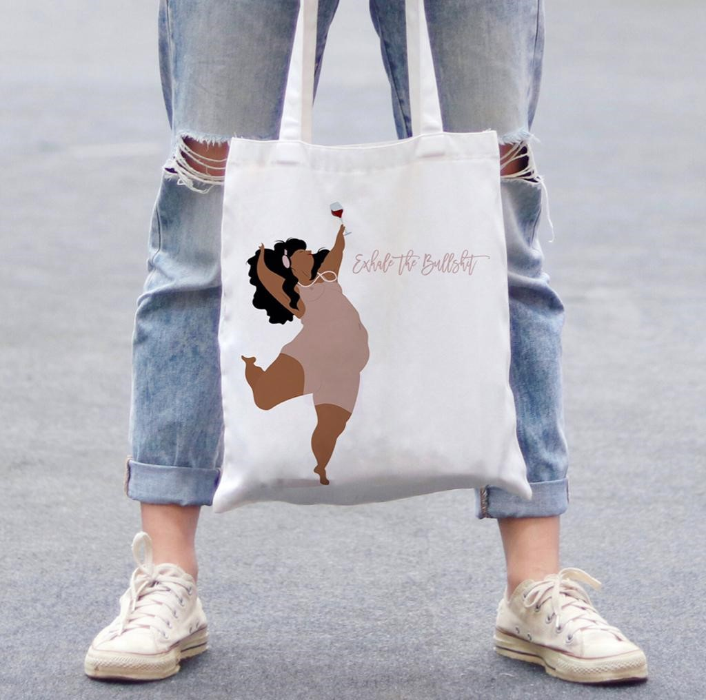 Personalised photo on tote bags: EXHALE THE BULLSHIT by Fatpings_Studio