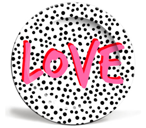 Rachel Waite design: LOVE POLKA DOT - cool dinner plates on ArtWOW