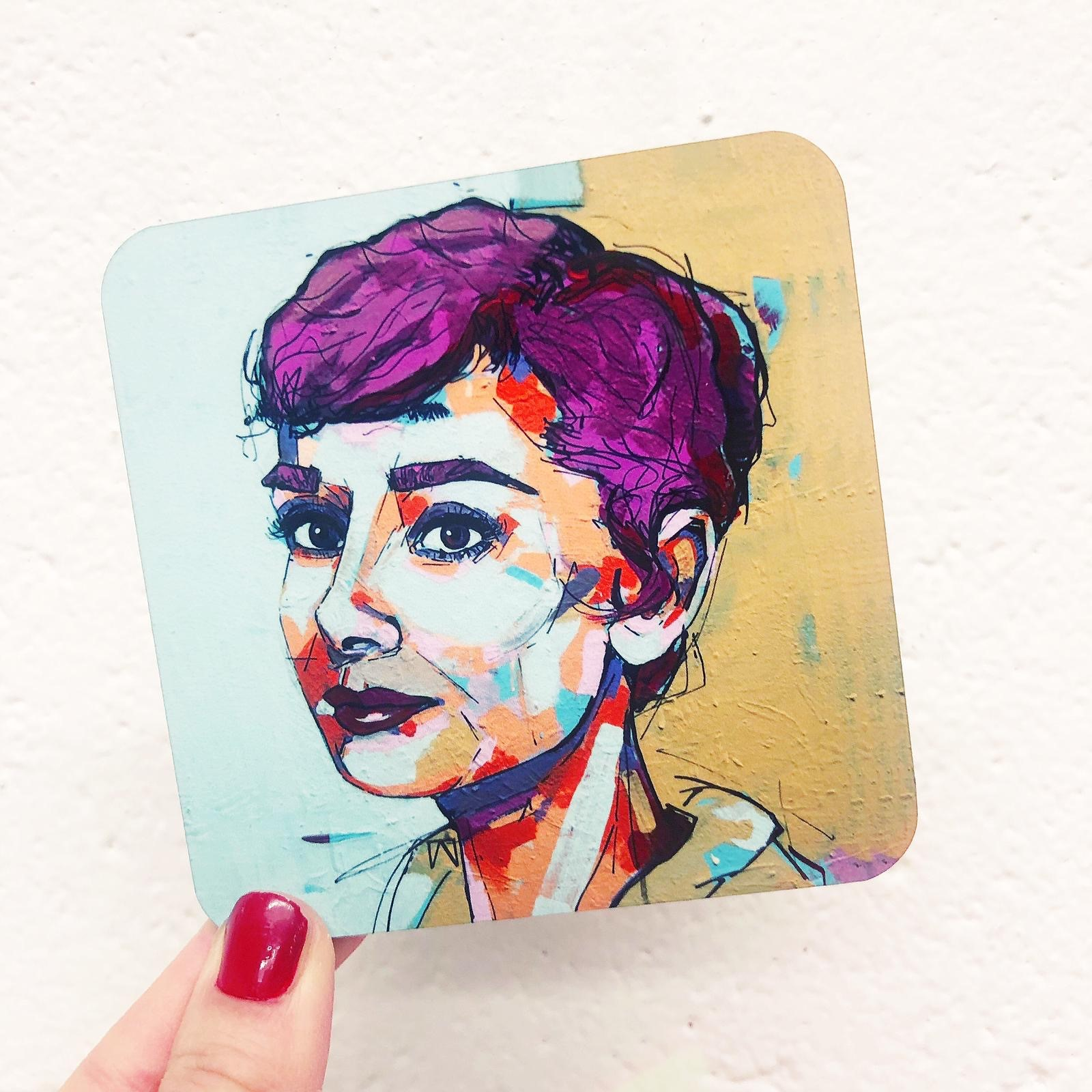 Personalised photo coasters: 'Punk Audrey' Audrey Hepburn by designer Laura Selevos