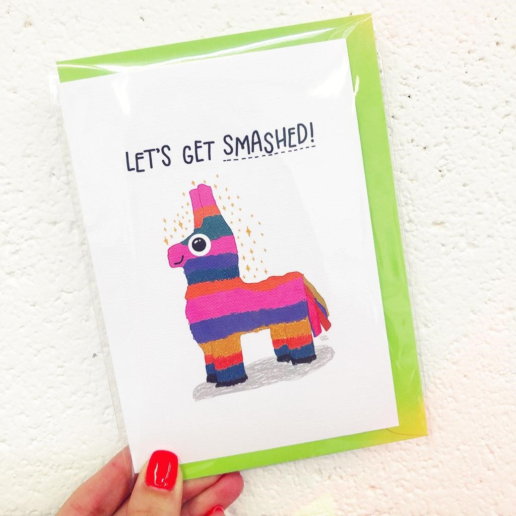Personalised greeting cards on Art WOW, LET'S GET SMASHED! by Leeann Walker
