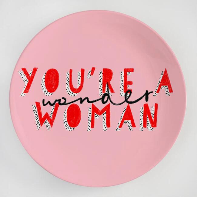 Cool dinner plates on ArtWOW store: Wonder Woman by designer Tess Shearer