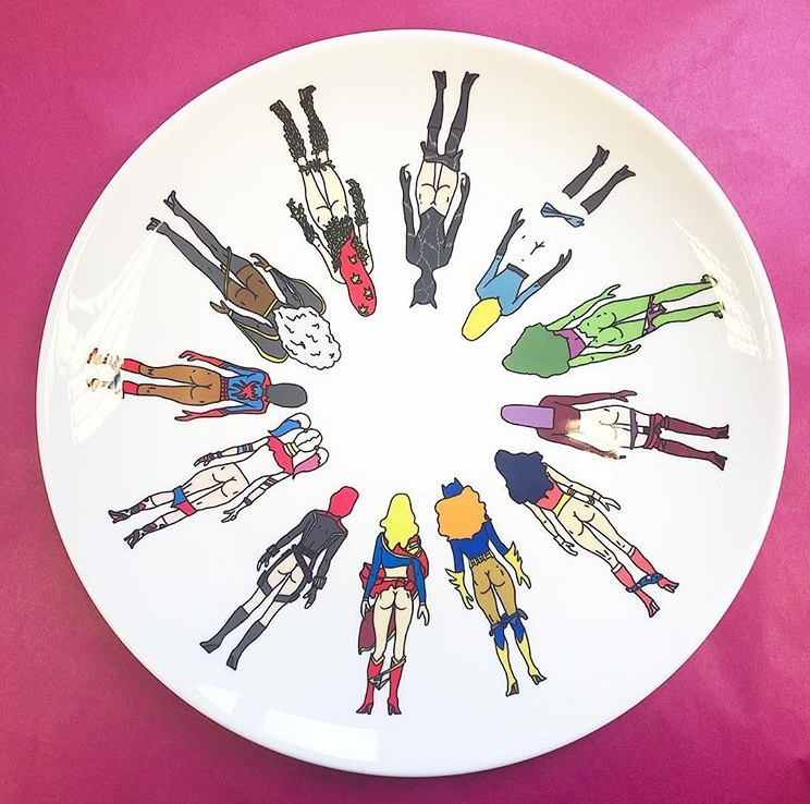 Buy cool dinner plates on Artwow:  Superheroine Butts by Notsniw Art