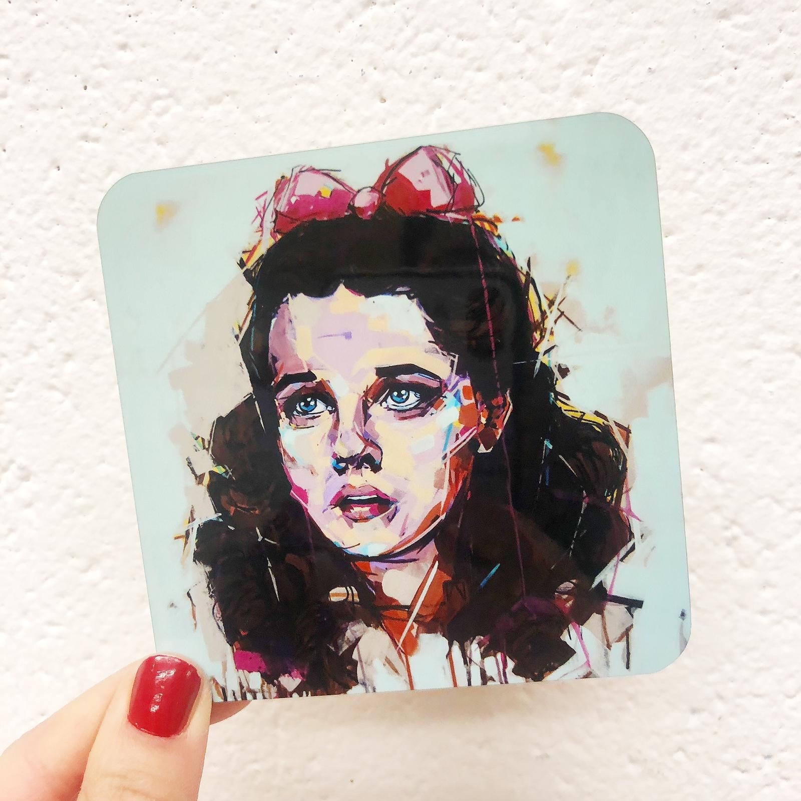 Personalised photo coasters: 'Dorothy' Judy Garland by Laura Selevos – buy on ArtWOW