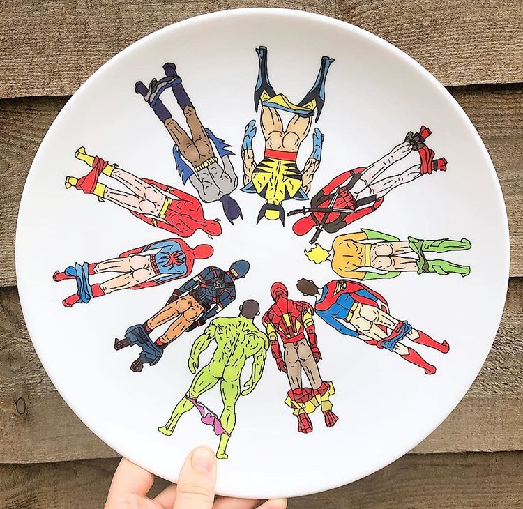Superhero Butts - Art work on custom plate by Notsniw Art: Buy on Art WOW
