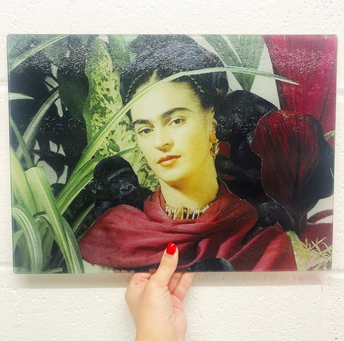 Frida With Monkeys by designer Maya Mladenovic – buy personalised glass chopping board on Artwow store