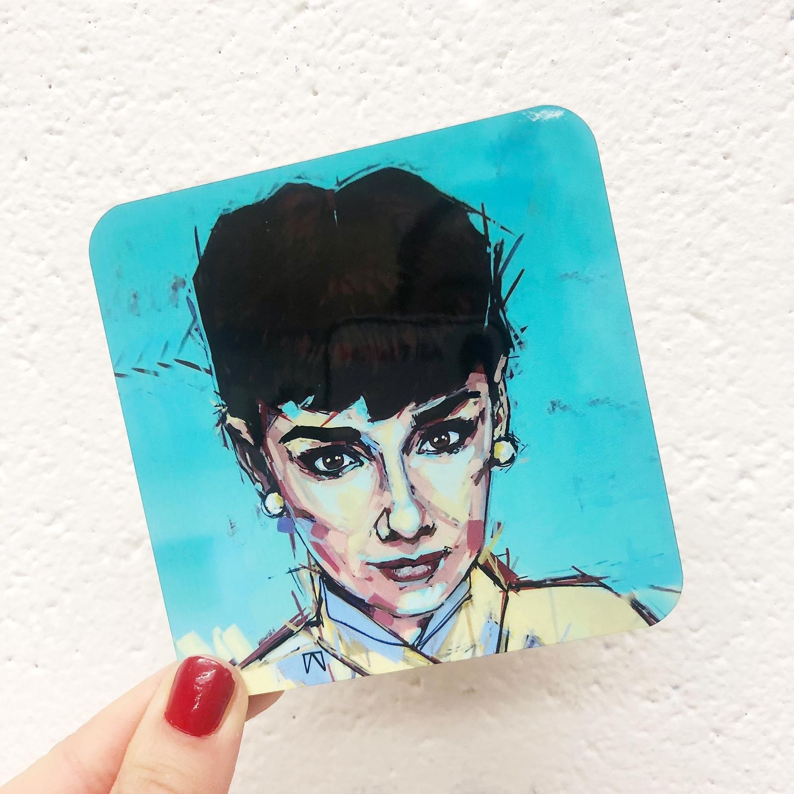 Design your own coasters with ArtWOW: 'AUDREY GAZE' Audrey Hepburn by designer Laura Selevos