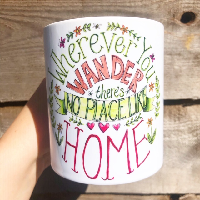 Custom mugs in UK: NO PLACE LIKE HOME by Heidi Clawson – buy on ArtWOW