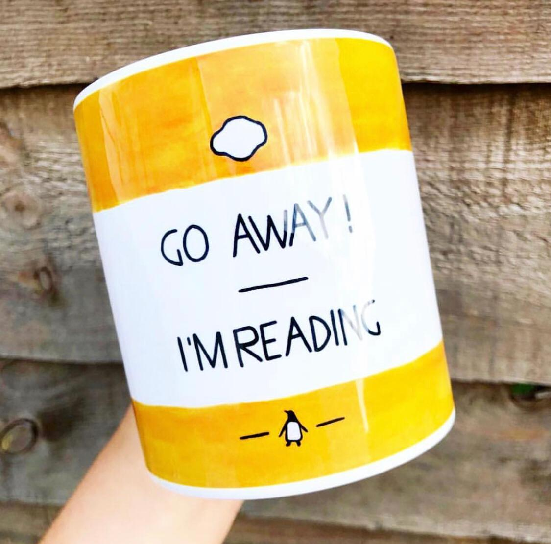 Custom Made Coffee Mugs: Go Away, I'm Reading - Watercolour Illustration by A Rose Cast - Karen Murray