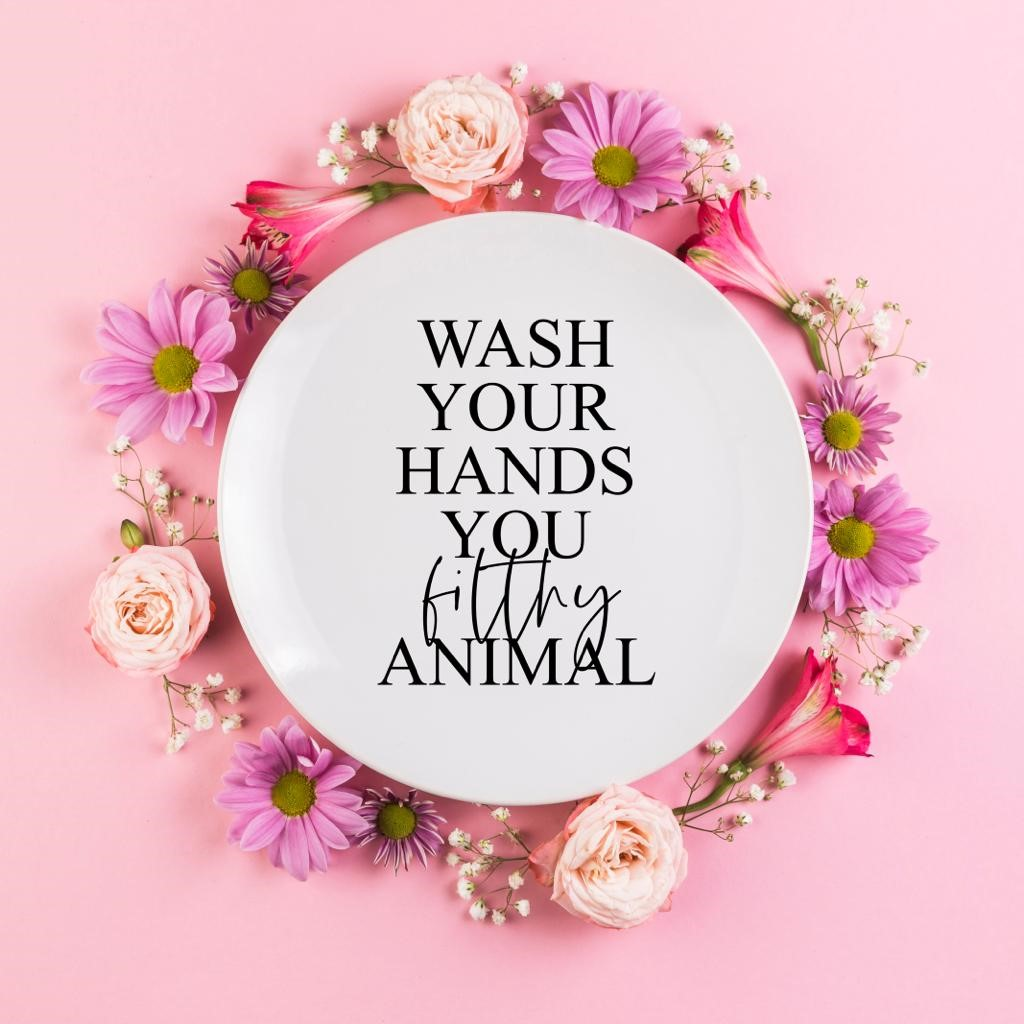 Personalised plates on ArtWOW: Wash Your Hands You Filthy Animal by Rachel Waite