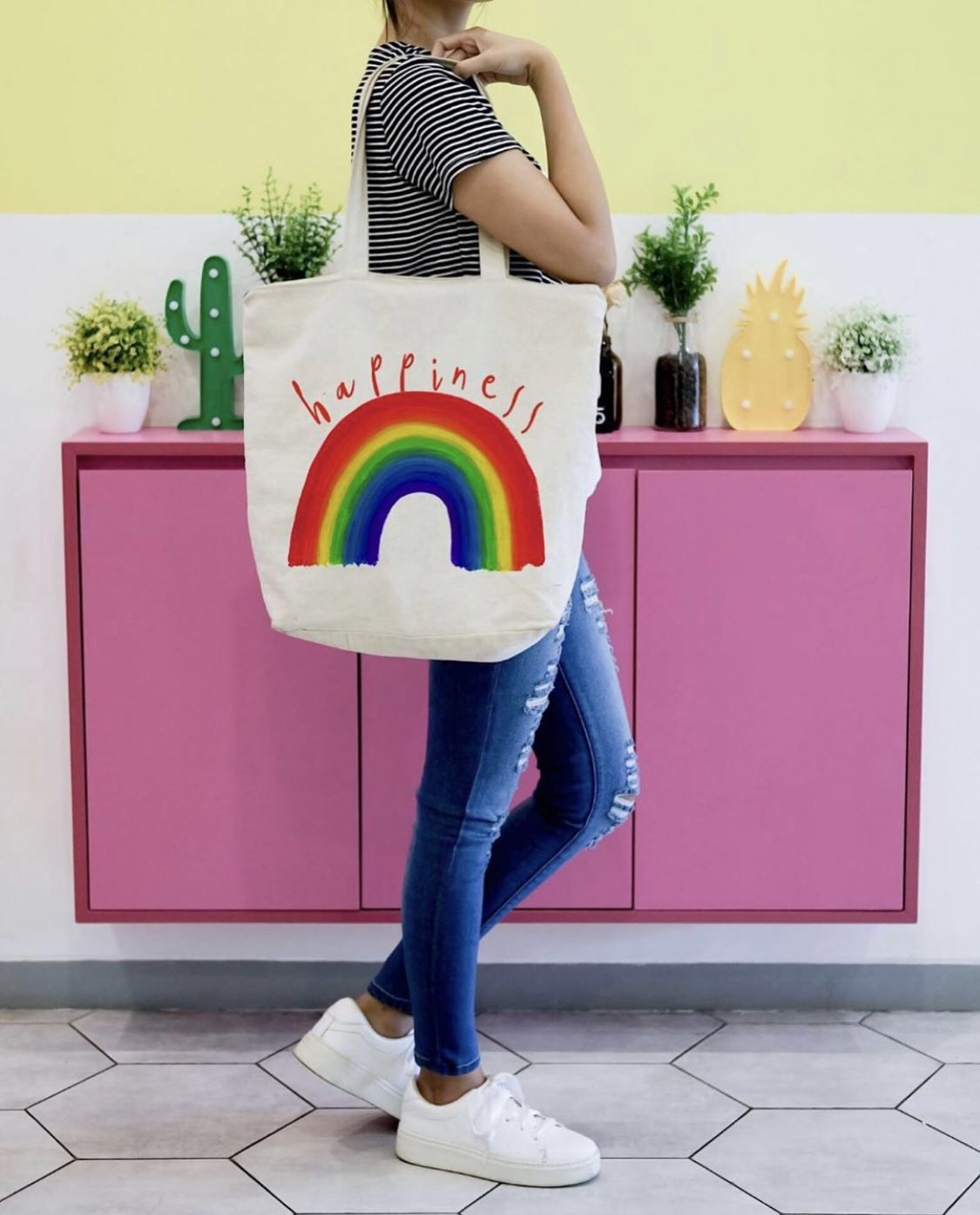 Personalised beach bag UK: The Rainbow Of Happiness by designer Heidi Clawson