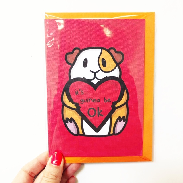 Personalised greeting cards on ArtWOW: IT'S GUINEA BE OK by Nicola Box