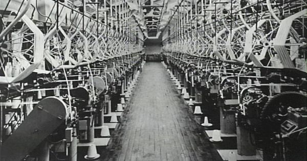 Vintage photo of zipper factory