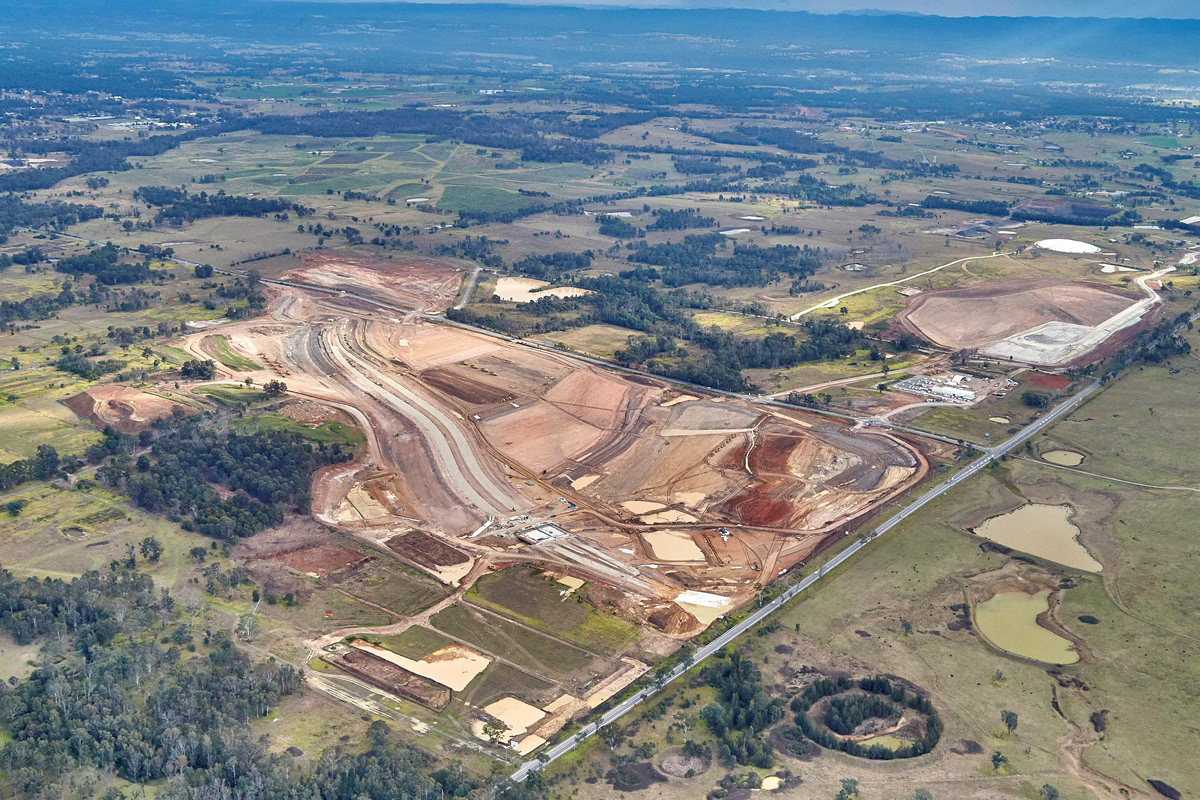 Aerial view of Western Sydney International Airport, currently under construction