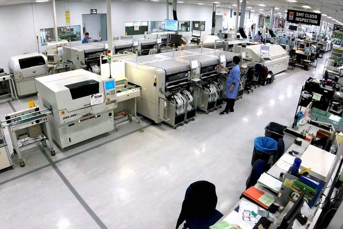 production line in electronics manufacturing plant