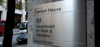 Sign: Caxton House, Department for Work and Pensions
