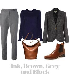 Ensemble: Ink, Brown, Grey and Black