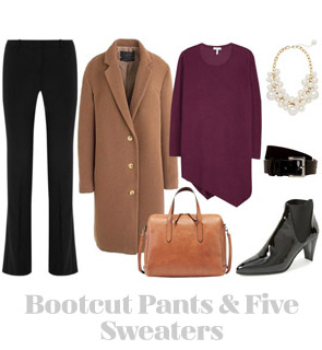http://youlookfab.com/2014/10/31/ensemble-bootcut-pants-five-sweaters/