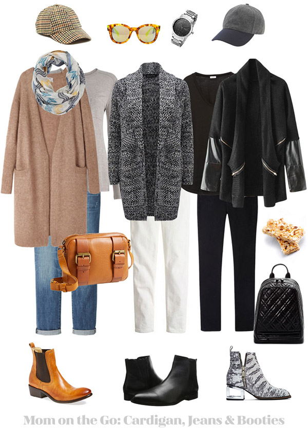 Mom on the Go Ensemble: Cardigan, Jeans & Booties